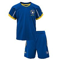 Toddler Majestic Milwaukee Brewers Legacy Tee & Shorts Set