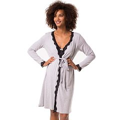 Maternity Pip & Vine by Rosie Pope Lace Trim Nursing Nightgown & Robe Set