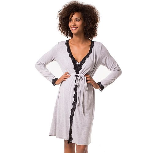 45f5d456509 Maternity Pip & Vine by Rosie Pope Lace Trim Nursing Nightgown ...