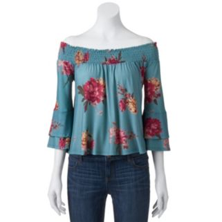 Juniors' About A Girl Knit Off The Shoulder Peasant Top