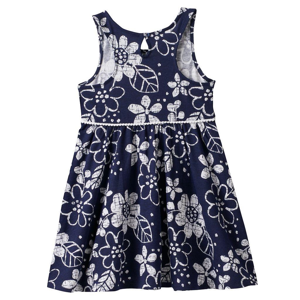 Toddler Girl Jumping Beans® Print Pom-Trim Dress