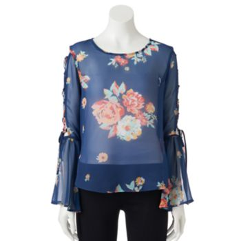 Juniors' Lily Rose Floral Bell Sleeve Top