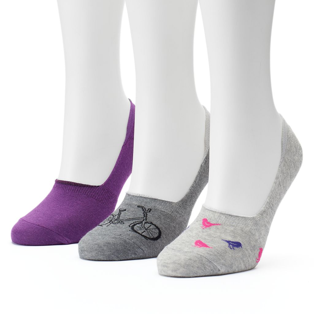 Women's SONOMA Goods for Life™ 3-pk. Bike & Bird Non-Slip Liner Socks