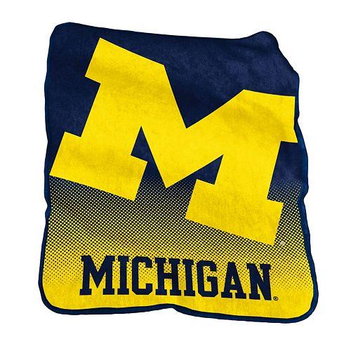 Logo Brand Michigan Wolverines Raschel Throw Blanket