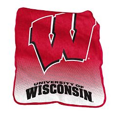 Logo Brand Wisconsin Badgers Raschel Throw Blanket