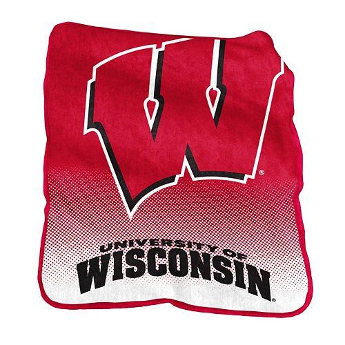 Logo Brand Wisconsin Badgers Raschel Throw Blanket