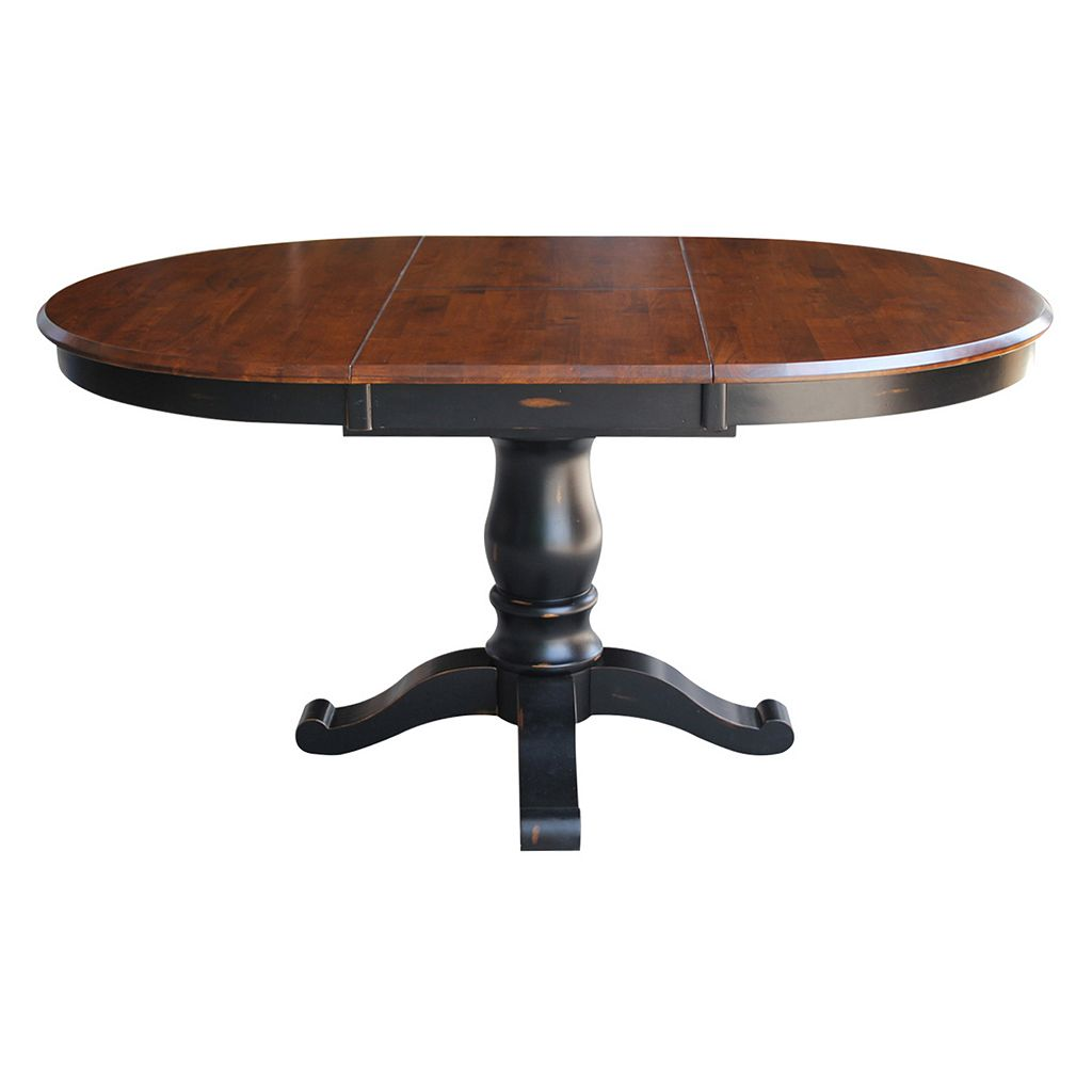 International Concepts Round Pedestal Dining Table & Leaf 2-piece Set