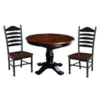 International Concepts Round Pedestal Dining Table, Leaf & Ladderback Chair 4 pc Set