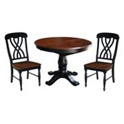 International Concepts Round Pedestal Dining Table, Leaf & Chair 4 pc Set