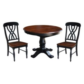 International Concepts Round Pedestal Dining Table, Leaf & Chair 4-piece Set