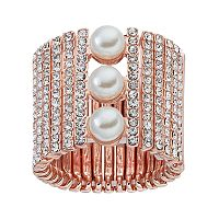 Jennifer Lopez Simulated Pearl Vertical Bar Stretch Ring
