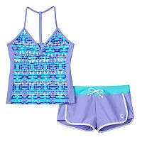 Girls 7-16 Free Country Adjustable Back Tankini & Shorts Swimsuit Set