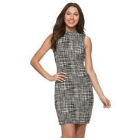 Women's Sharagano Plaid Mockneck Sheath Dress