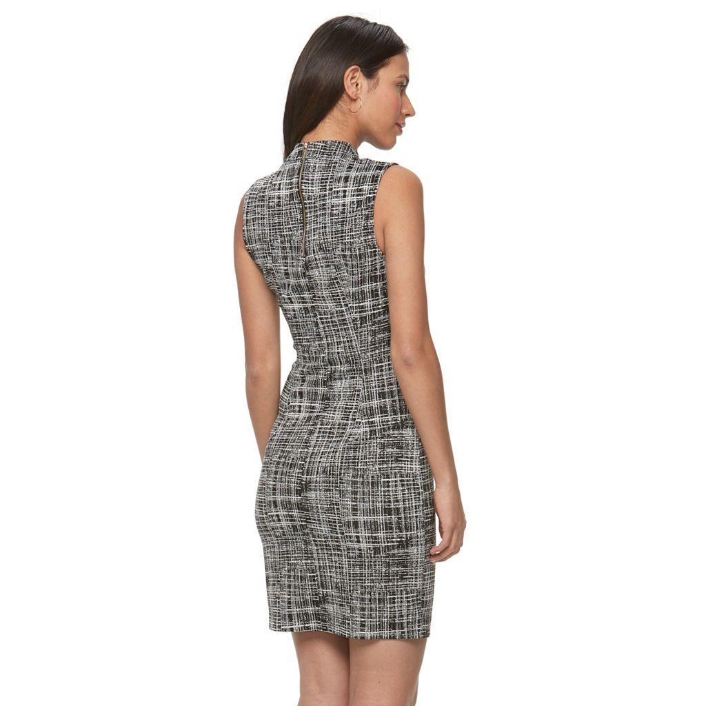 Women's Sharagano Plaid Mockneck Sheath Dress