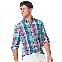 Men's Chaps Classic-Fit Plaid Easy-Care Poplin Button-Down Shirt