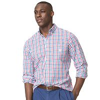 Men's Chaps Classic-Fit Checked Easy-Care Poplin Button-Down Shirt