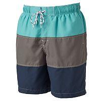 Men's Croft & Barrow® Colorblock Microfiber Swim Trunks
