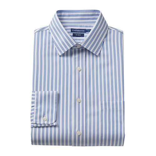 Croft /& Barrow Mens Classic Fit 100/% Cotton No Iron Dress Shirt Striped