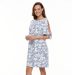 Women's Perceptions Floral Cold-Shoulder Shift Dress