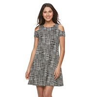 Women's Sharagano Plaid Cold-Shoulder A-Line Dress