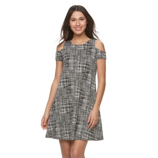 Women's Sharagano Plaid Cold-Shoulder A-Line Dress