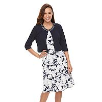 Women's Perceptions Floral A-Line Dress & Beaded Jacket Set