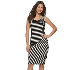 Women's Sharagano Striped Mixed-Media Sheath Dress