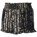 Juniors' About A Girl Print Ruffle-Hem Shortie Shorts
