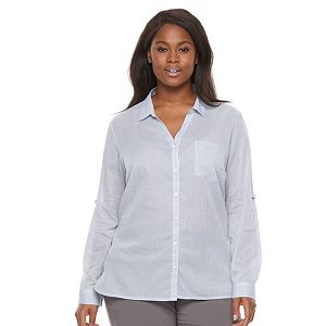 Plus Size Columbia Wiley Mesa Striped Roll-Tab Shirt