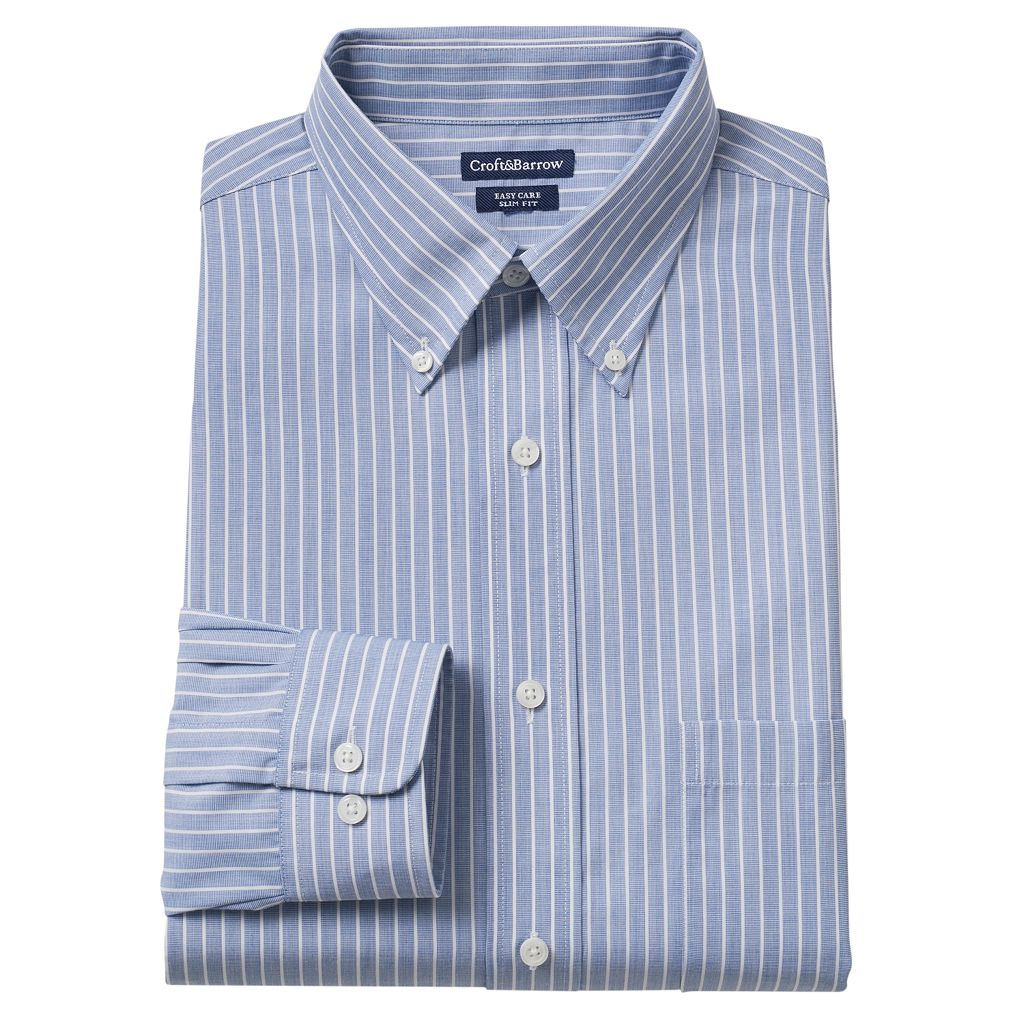 Men's Croft & Barrow® Slim-Fit Easy-Care Button-Down-Collar Dress Shirt