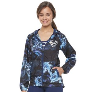 Juniors' Her Universe Superman Galaxy Print Windbreaker Jacket by DC Comics