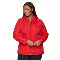 Plus Size Weathercast Zip-Front Quilted Jacket
