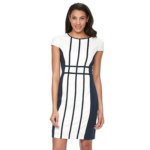 Women's Ronni Nicole Grid Colorblock Sheath Dress