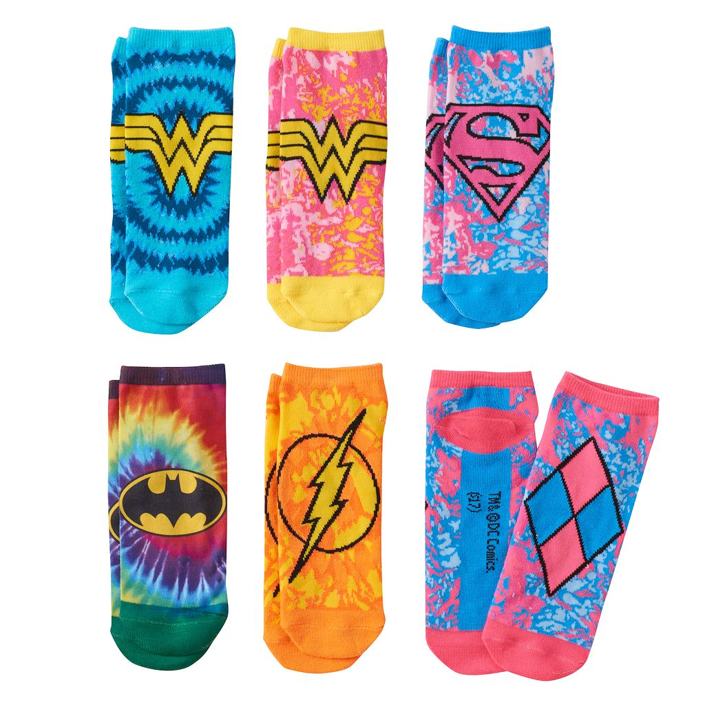 Girls 4-16 DC Comics Batman, Wonder Woman & Harley Quinn 6-pk. Tie-Dyed Low-Cut Socks