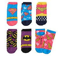 Girls 4-16 DC Comics Justice League Batman, Wonder Woman & Superman 6 pkLow-Cut Socks
