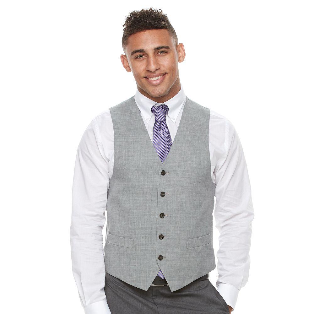 Chaps Classic-Fit Wool-Blend Light Gray Suit Vest