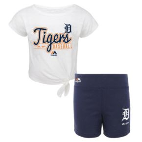 Toddler Majestic Detroit Tigers Tiny Trainer Tee & Shorts Set