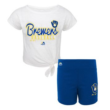 Toddler Majestic Milwaukee Brewers Tiny Trainer Tee & Shorts Set