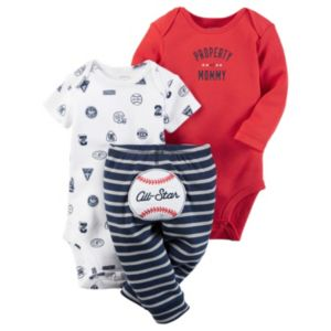 Baby Boy Carter's Graphic Bodysuit, Print Bodysuit & Embroidered Pants Set