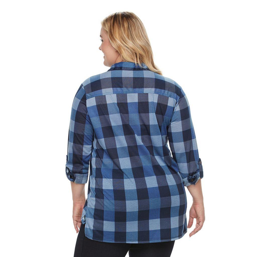 Plus Size French Laundry Lace-Up Plaid Tunic