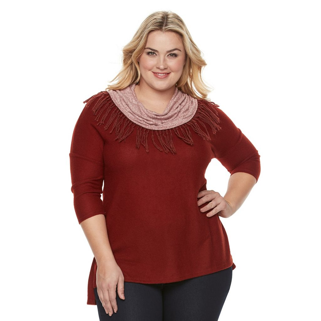 Plus Size French Laundry Marled Cowlneck Sweater