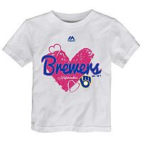 Toddler Majestic Milwaukee Brewers Heart Tee