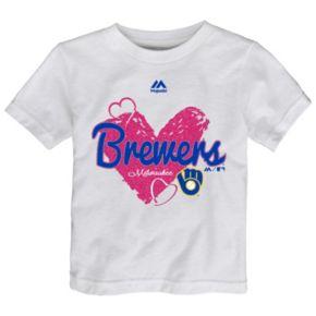 Toddler Majestic Milwaukee Brewers Heart Tee