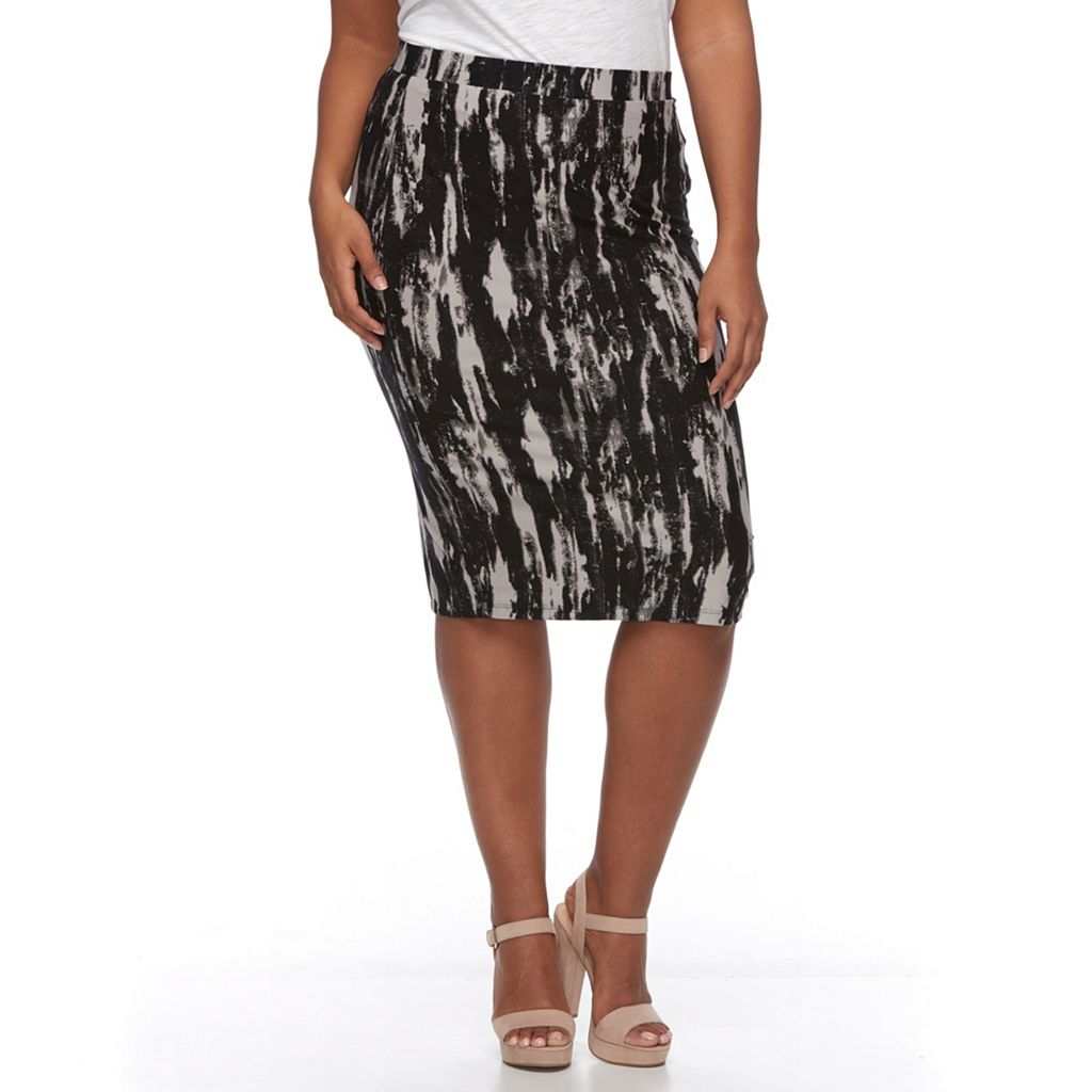 Plus Size French Terry Printed Pencil Skirt
