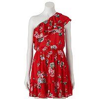 Juniors' Love, Fire Floral One-Shoulder Ruffle Dress