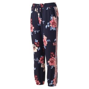 Juniors' About A Girl Print Side Stripe Jogger Pants