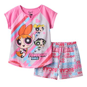 Girls 4-12 Powerpuff Girls Buttercup, Blossom & Bubbles Pajama Set