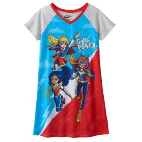 "Girls 6-16 DC Super Hero Girls Supergirl, Batgirl & Wonder Woman ""Girl  Power"" Dorm Nightgown"