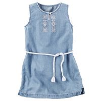 Toddler Girl Carter's Embroidered Chambray Dress
