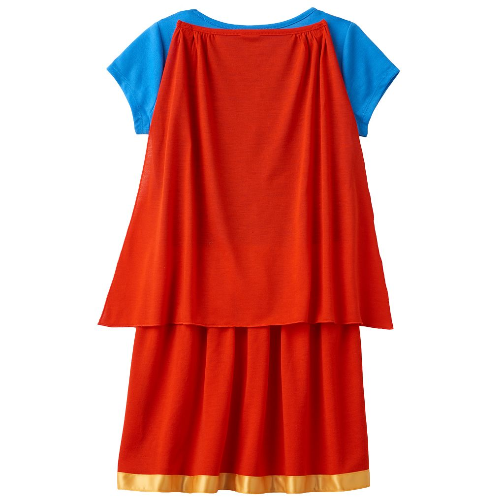 Girls 6-16 DC Comics Supergirl Dorm Nightgown with Removable Cape